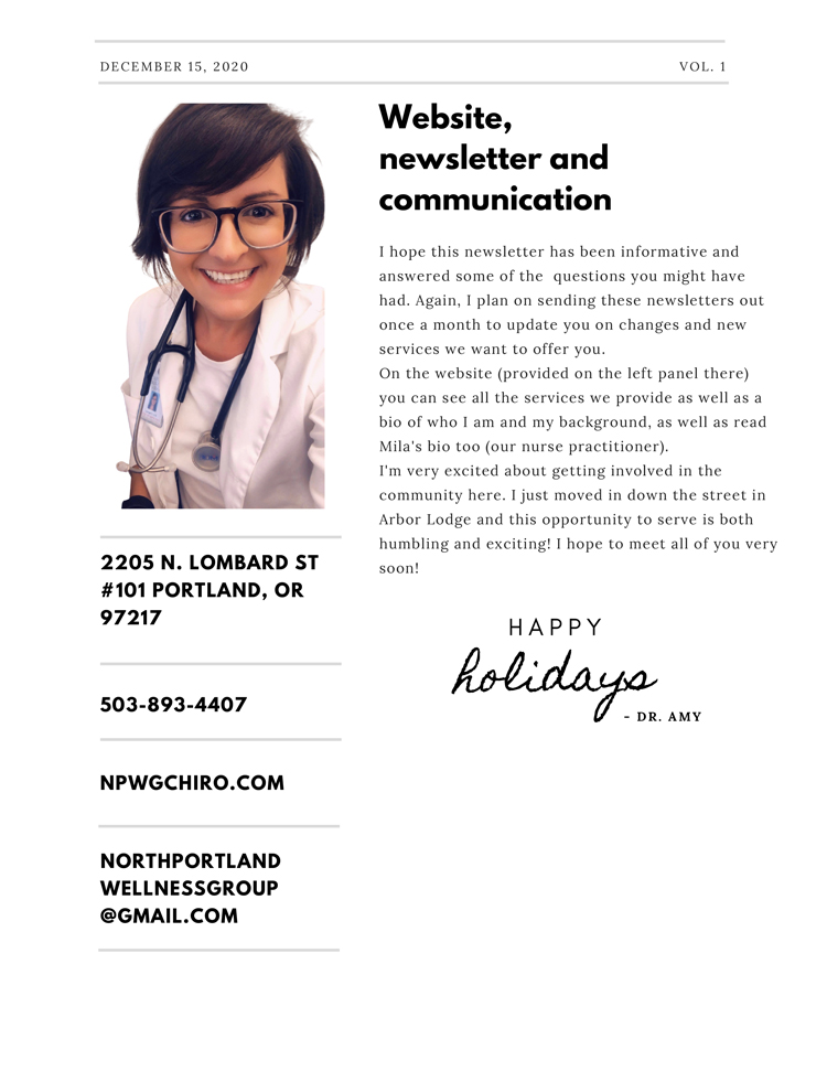 December Newsletter at North Portland Wellness Group 4